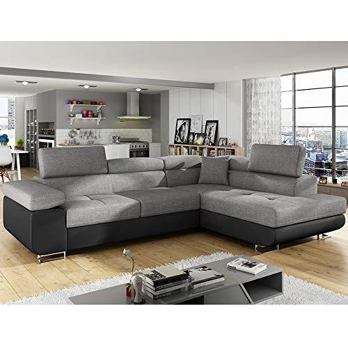 Kasalinea - divano angolare convertibile, colore: grigio e nero, modello liam 6, con penisola a destra