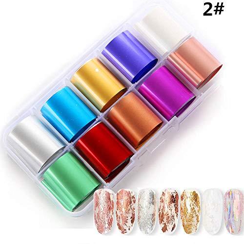 TAOtTAO 10 Farbe DIY Sterne Nagelaufkleber Holographische Nail Art Transferfolie Aufkleber für Nail Tip Dekoration (A) (B) -