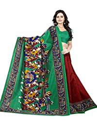 Jaanvi Fashion Women's Art Silk Kalamkari Printed Saree (Red)