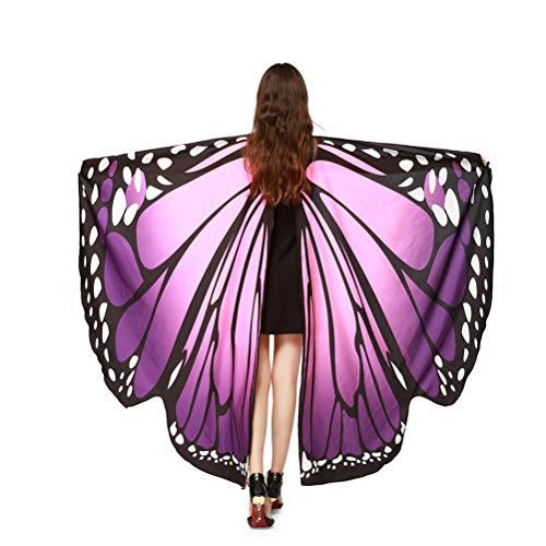 Zubehör Kostüm Schmetterling - EDOTON Schmetterlingsflügel für Frauen, Nymphe Pixie Kostüm Zubehör Schals Party Cosplay Tanzkostüm (Rosa & Lila)