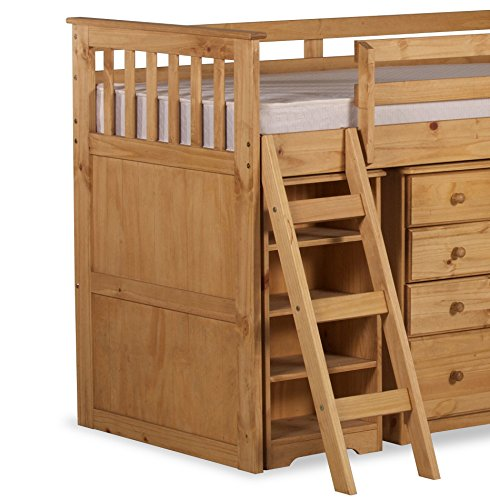 Happy Beds Ultimate Mid-Sleeper Wooden Storage Bed Kids Sleep Station Desk Cabin Waxed Pine with Pocket Flexi Mattress 3' Single 90 x 190 cm