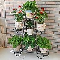 SED Flower Pot Collection Rack Balcony Plant Flower Stands Iron Multi-Layer Flower Shelf Floor-Standing Flower Rack Flower Pot Rack Flower Holder Storage Display,Black