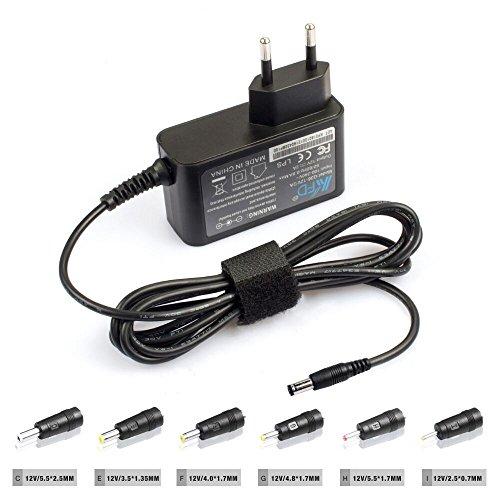 KFD Schaltnetzteil DC Stecker Ladegerät Universal Netzteil 12V Trafo 2A mit 6 Stecker 5,5mm x 2,5mm /4,0mm x 1,7mm / 4,8mm x 1,7mm / 3,5mm x 1,35mm / 2,5mm x 0,7mm / 5,5mm x 1,7mm | AC Adapter Ladekabel Schnellladegerät Reiseladegerät Netzladegerät