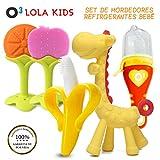 O³ Lola Kids Mordedor Bebes Refrigerante 5 Unidades - Mordedor Fruta Bebe + Cepillo Dientes Bebe + Chupete Fruta - Mordedores Bebes Para Aliviar El Dolor De Encías Y Transformar A Comida Sólida