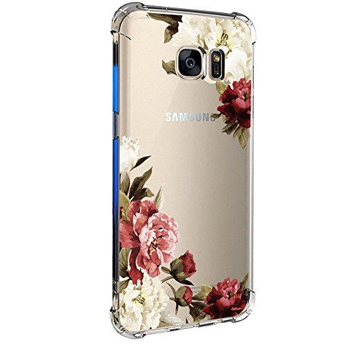 Samsung Galaxy S7 / S7 Edge Hülle Silikon Pacyer® cover Bumper Case [Ultra Dünn] Stoßfest Marmor grau hellblau TPU Schutzhülle Anti-Scratch Anti-Rutsch Handyhülle (Blumen 3, Samsung Galaxy S7)