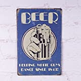Antique Beer Helping Guys Dance Metal Ti...