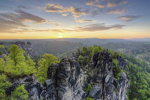 Artland Qualitätsbilder I Bild auf Leinwand Leinwandbilder Wandbilder 60 x 40 cm Landschaften Felsen Foto Bunt C0EE Sonnenaufgang Bei der Bastei in der Sächsischen Schweiz