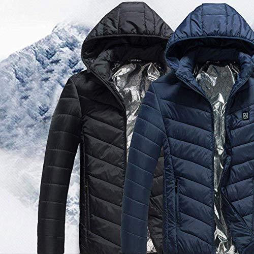 DIVAND Men es Lightweight beheizte Jacket Winter Hooded Work Coats Adjustable Temperature Control Clothing (Schwarz),XXL Hooded Lightweight Coat