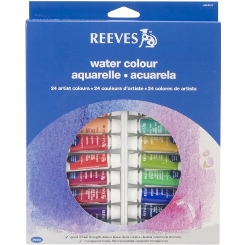 REEVES Aquarellfarben Sets, hohe Pigmentierung, 24 Farben in 10ml Tuben