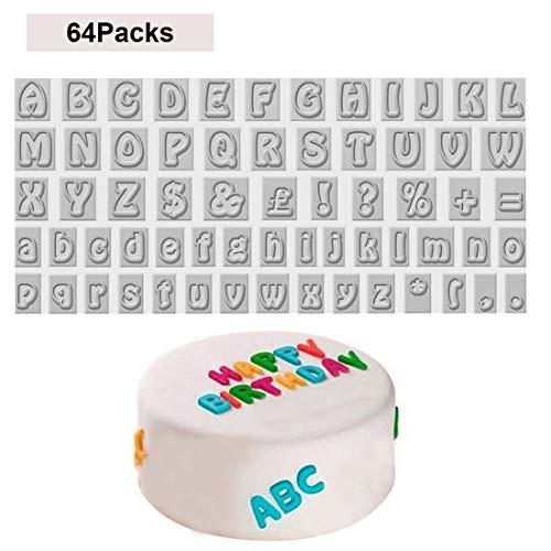 Kurtzy 64 stücke Buchstaben Ausstecher - Alphabet Keksstempel einschließlich der Buchstaben A-Z - Buchstaben Formen - Ausstechformen - Alphabet Keksausstecher - Formen für Kekse, Fondant