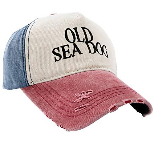 MFAZ Morefaz Ltd Kapitänsmütze Mütze Army Baseballmütze Damen Herren Nave Red Cap Captain,Pirate (Old See Dog Red Peak) -