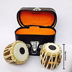 Back2Joy Hand Made Miniature Tabla Set - (Mini Tabla Size 4 Inch) With Tabla Box, Replica/ Real Mini Tabla Set (Decorative Showpieces)