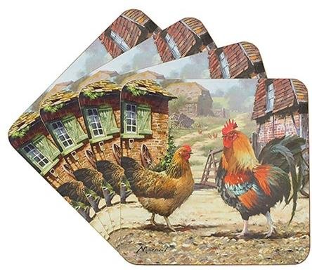 Cockerel and Hen - Set of 4 Cork Backed Coasters