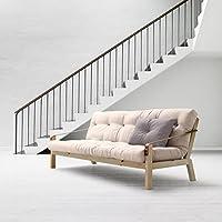 KARUP - POETRY, divano letto composto da futon ecru su struttura in legno naturale