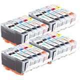 4 Compatible Sets of 5 Canon PGI-525 & CLI-526 Printer Ink Cartridges (20 Inks) - Black / Cyan / Magenta / Yellow for Canon Pixma iP4850, iP4950, iX6550, MG5150, MG5250, MG5320, MG5350, MG6150, MG6220, MG6250, MG8150, MG8170, MG8220, MG8250, MX885