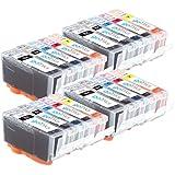 4 Compatible Set de 5 Canon PGI-525 / CLI-526 Cartouches d'encre avec puces pour imprimantes (5 encres) - Noir / Cyan / Magenta / Jaune pour Canon Pixma iP4850, iP4950, iX6550, MG5150, MG5250, MG5320, MG5350, MG6150, MG6220, MG6250 , MG8150, MG8170, MG8220, MG8250, MX885