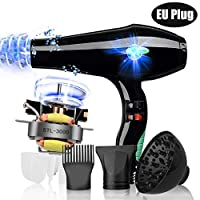 3000W Salon Hair Dryer Professional Negative Ion Blow Dryers,2 Speed 3 Heat Settings,with Collecting Nozzle+Diffuser + Comb,Constant Temperature Hair Care,for Hair Salon,Men and Women(EU Plug)
