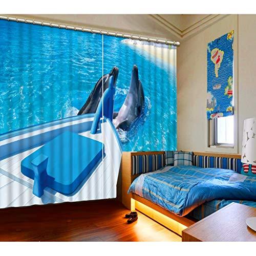 mer Vorhänge Blackout Foto Delphin Kinderzimmer Vorhänge Druck 2 Panels Vorhang Für Home Fenster Dekor Blau-165 cm X 274 cm (66 Zoll X 108 Zoll) ()