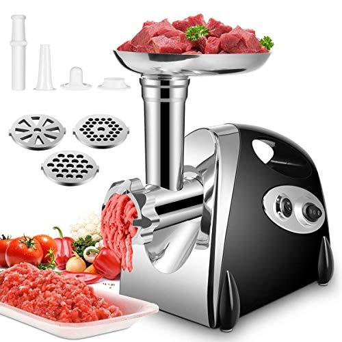 Elektrischer Fleischwolf,Ksun Profi Meat Grinder Wurstmaschine Set mit 3 Mahlplatten und Wurstfüllrohren für den Hausgebrauch, Multifunktions Küchenmaschine Fleisch mit Edelstahlklinge,schwarz