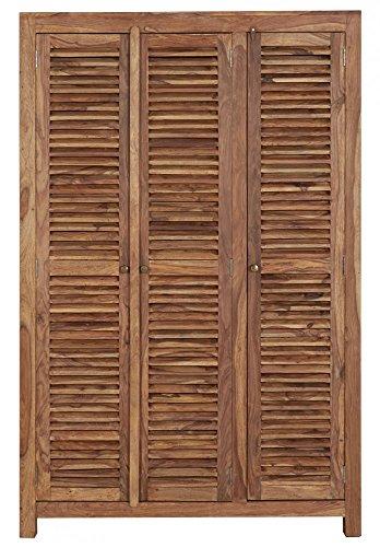 Kleiderschrank 3-türig Holz massiv Palisanderholz 3 Lamellentüren 130x60cm - Calas