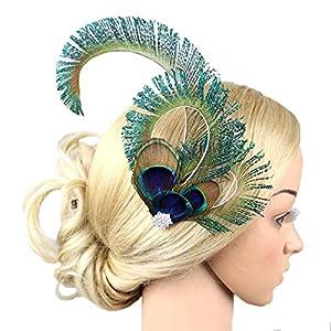 dressfan Vintage Flapper Kopfschmuck Pfauenfeder Stirnband Cocktailparty Pferde Mädchen Frauen bunt
