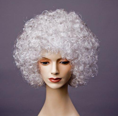 Festartikel Müller Karneval Damen Perücke Dauerwelle Hair Silber zum 70's Kostüm