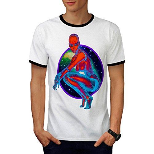 Ausländer Kosmos Galaxis Platz Mensch Roboter Herren M Ringer T-shirt   Wellcoda