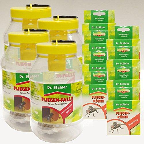 Dr. Stähler Piège à mouches pour – offre Set 4 x 8 x Recharge pour piège à mouches