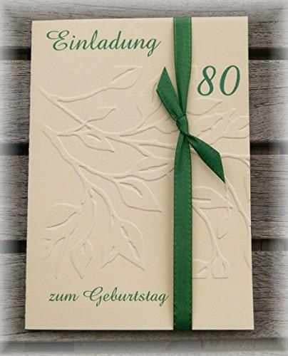 Einladung Einladungskarte Blätter geprägt runder Geburtstag 40 50 60 70 80 90 personalisierbar dunkelgrün tannengrün grün
