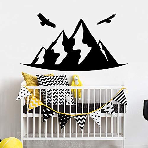 guijiumai Berg Vögel Decals Kinderzimmer Dekor Krippe Wandaufkleber Home Interior Dekorieren Abnehmbare Vinyl Wandtattoo Kinderspielzimmer grau 103X56 cm