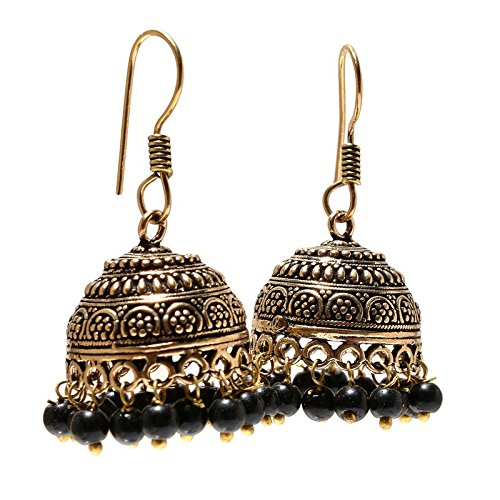 Afashioner's Alloy Oxized Gold Plated Black Onyx Beads Gemstone Victorian Style Jhumki Earring For Women