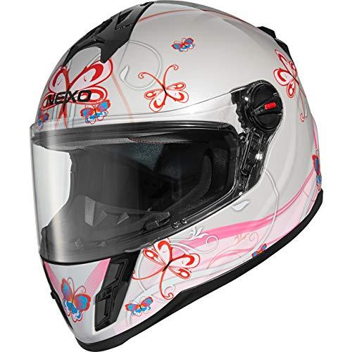 Nexo Motorradhelm, Vollvisierhelm, Integralhelm Junior III 2.0, Kinder-Motorradhelm für Mädchen, Gewicht: 1.190 g klares kratzfestes Visier Belüftung, Ratschenverschluss, Pink Dekor, M -
