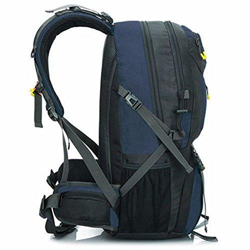 YUMOMO 50L imprägniern Nylon, das Trekking kampiert, reisen im Freiensport-Rucksack-Satz an Bergsteigen-kletternde Rucksack-Beutel Dunkelblau