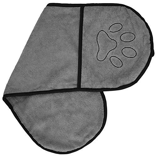 Furpaw Handtuch Hund, Hundebademantel Mikrofaser Schnelltrocknend Extra Saugfähig, Badezubehör für Hunde Labrador Teddy (63,5 * 21cm Grau)