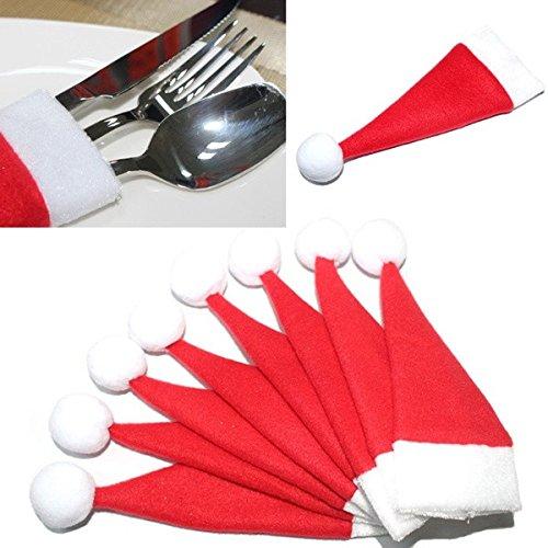 ❀ZEZKT-Home❀10PCS/1PC Weihnachten Caps Besteck Halter Gabel Löffel Tasche Weihnachten Decor Tasche Kappen Besteck Socke Geschenk Tasche Weihnachten Deko für Kinder (10 PCS, Rot)