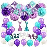 Amorar Meerjungfrau Party Supplies, Banner/Balloons/Partyhüte/Cupcake Toppers Dekorationen für Mädchen Geburtstagsparty, Baby Dusche, Bridal Shower