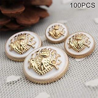 Be82aene Hauptdekoration 100 STÜCKE Vintage Antique Metal Blazer Lion Button für Jacke Anzüge Sport Mantel Uniform Dekoration, Durchmesser: 12,5 mm (Großauswahl : Diameter: 12.5mm(White))