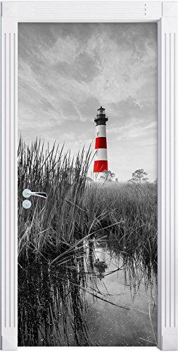 Stil.Zeit Möbel Bodie Island Lighthouse in North Carolina schwarz/weiß als Türtapete, Format: 200x90cm, Türbild, Türaufkleber, Tür Deko, Türsticker