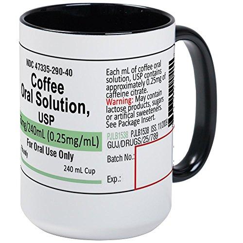 (CafePress–Kaffee Tassen,–Kaffee Tasse, groß 15Oz Weiß Kaffee Tasse, keramik, White/Black Inside, Large)
