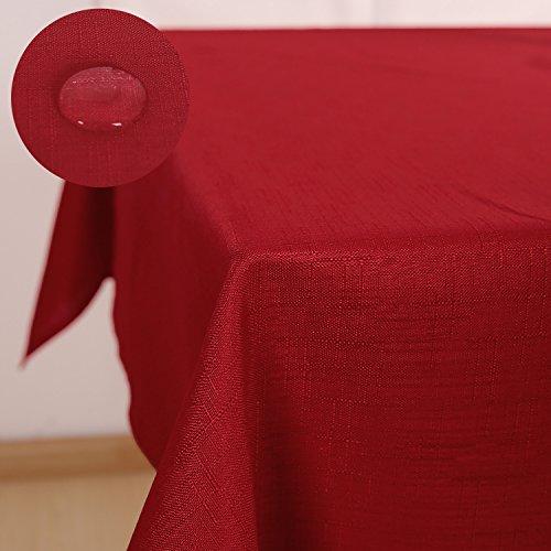 Deconovo Nappe Effet Lin Carree Impermeable Decoration de Table 130x130cm Rouge