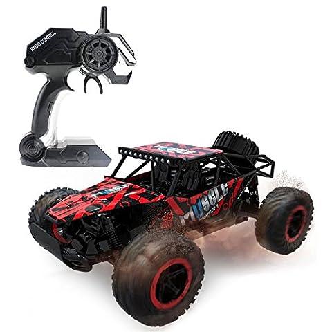 Hugine 1:16 RC voiture 25Km / h Camion à grande vitesse Véhicule hors route 2.4G Voitures de course Monster Truck Dune Buggy 4 roues indépendantes de suspension Voitures de contrôle radio pour les enfants Adultes jouets hobby (Rouge)