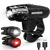 USB Rechargeable Bike Lights, Hoicmoic Bright Waterproof LED Bicycle Front and Rear Lights