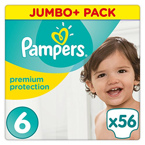 Pampers - Premium Protection - Couches Taille 6 (13-18 kg) - Jumbo+ Pack (x56 couches)