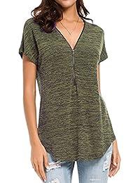QinMM Camiseta Blusa Suelto con Cremallera de Túnica de Mujer, Tops de Manga Corta Sudadera