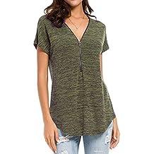 QinMM Camiseta Blusa Suelto con Cremallera de Túnica de Mujer 0fa07f0dab7