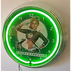 Neon reloj–Pinup Girl Castrol Sales & Service–Iluminación Neon Verde.