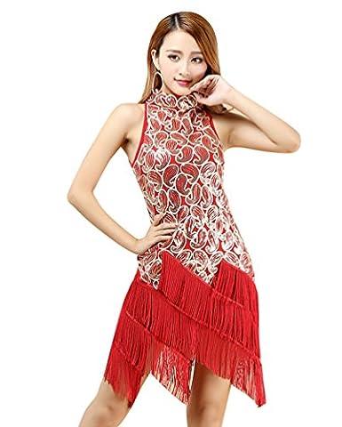 YiJee Femme Robes Danse Latine Sequins Glands Latine Robe Performance Costume Rouge