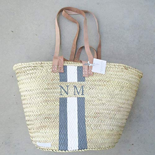 Korbtasche Personalisiert mit Monogramm Grau - Weiß - | Monogrammkorb Helle Henkel | Namenstasche Initialbag Korb Einkaufskorb -