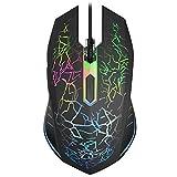 VersionTECH. Ratón Gaming con Cable hasta 2400 dpi Ratón Ergonómico Óptico para Juegos con 7 Colores Luz LED 6 Botón Gaming Mouse Wired para PC/Ordenadores Portátil/Mac(Negro)