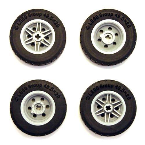 Lego Technic Reifen / Felgen Satz 49.5 x 20 für Lego Modellautos (4 Stück) -